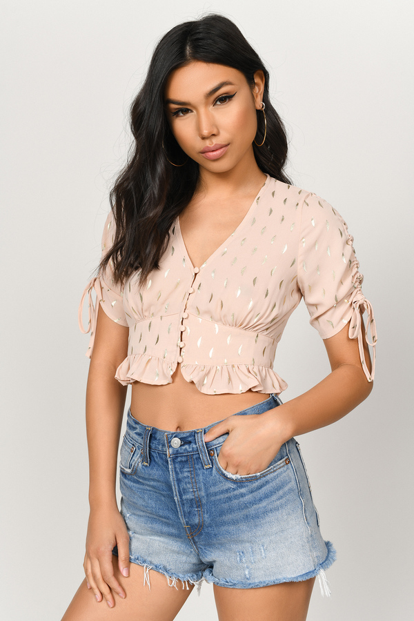 c1aad086888 Pink Crop Tops, Light Pink, Mimo Ruched Sleeve Button Front Crop Top, ...