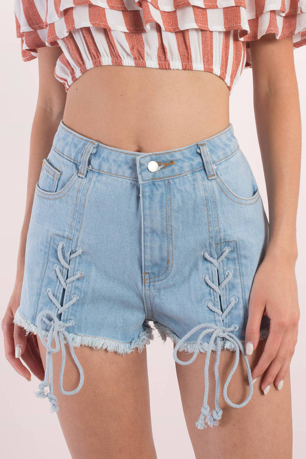 Trendy Black Shorts - Lace Up Shorts - Black Shorts - Denim Shorts ...