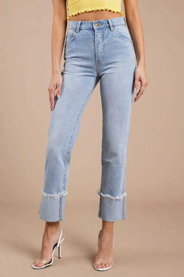 Rolla's Original Straight Light Wash Cuffed Jean by Tobi