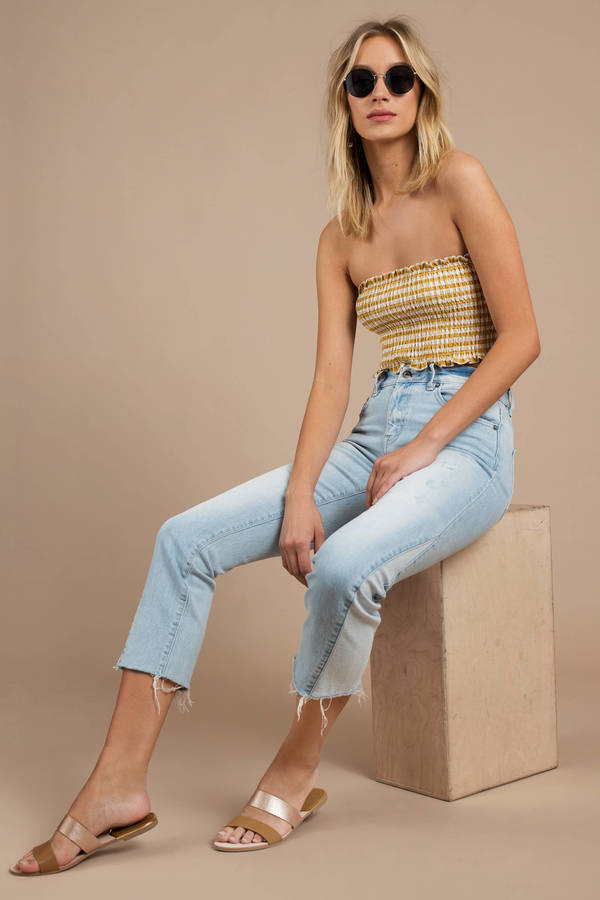 Pistola Ruby Light Wash Cropped Denim Pants by Tobi