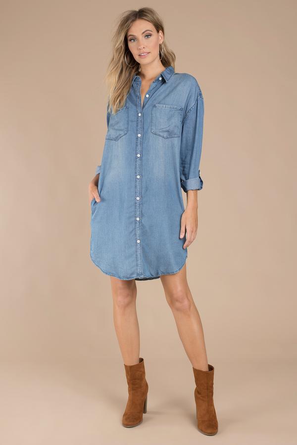 Blue thread supply shirt denim boyfriend shirt blue for Denim button down shirts