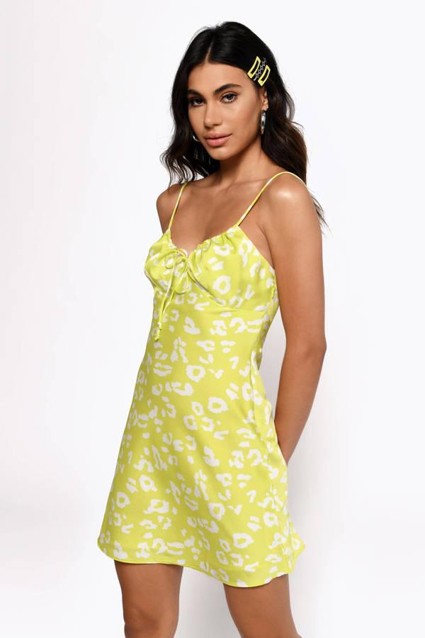 61716da2b8553 Skater Dresses, Lime, Like A Light Satin Leopard Print Dress, ...