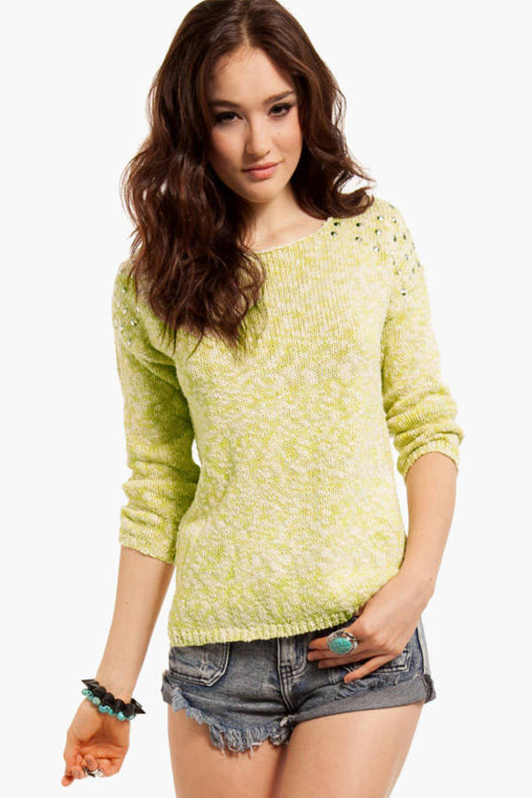 Marled Studded Shoulder Sweater