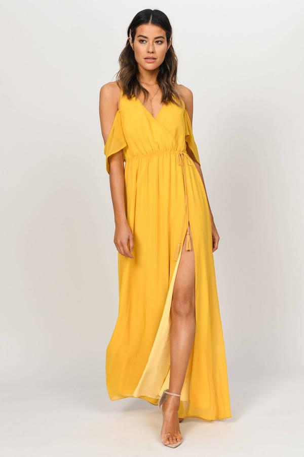 c853f9d278cb Wedding Guest Dresses, Marigold, Rhythm Cold Shoulder Maxi Dress, ...