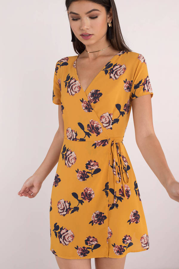 779618ad209 Yellow Wrap Dress - Short Sleeve Sundress - Yellow Floral Dress - kr ...