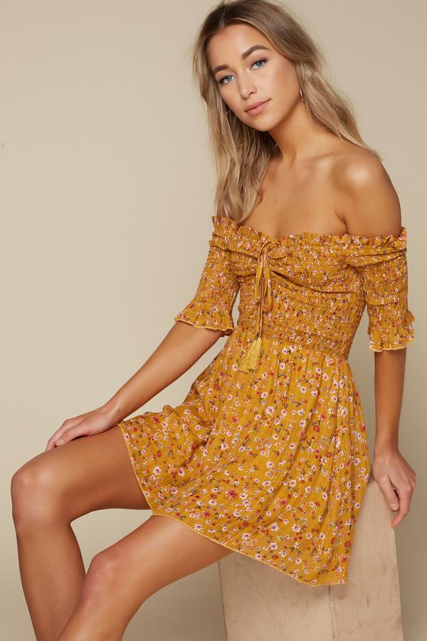 Day Dresses Marigold Sun Kiss Smocked Skater Dress