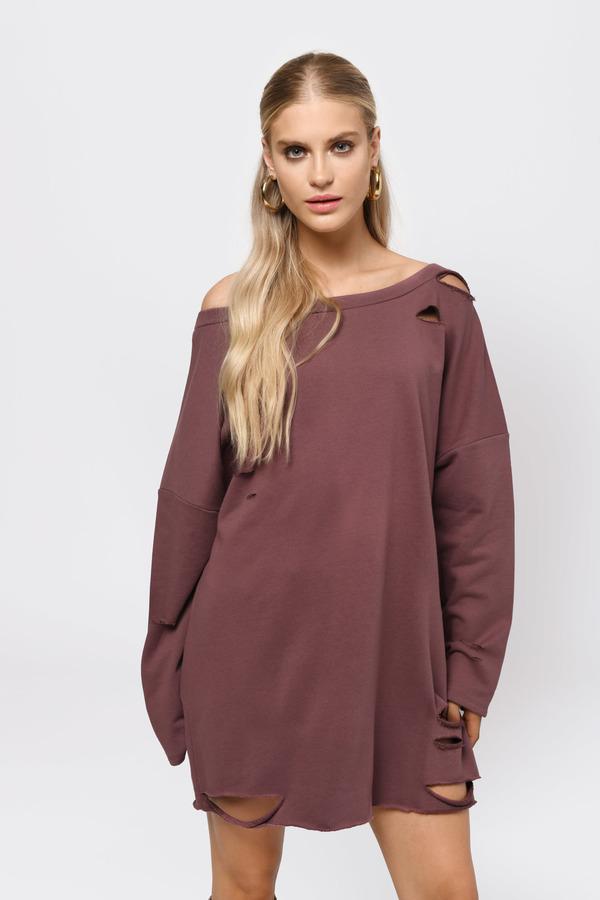 5447205f6712c2 Hoodies & Sweatshirts, Marsala, Show Off Shoulder Sweater Dress, ...
