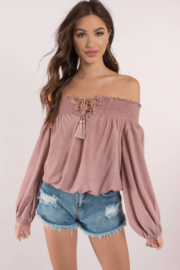 24776763f5970 Chic Pink Blouse - Off Shoulder Top - Long Sleeve Pink Blouse - S ...