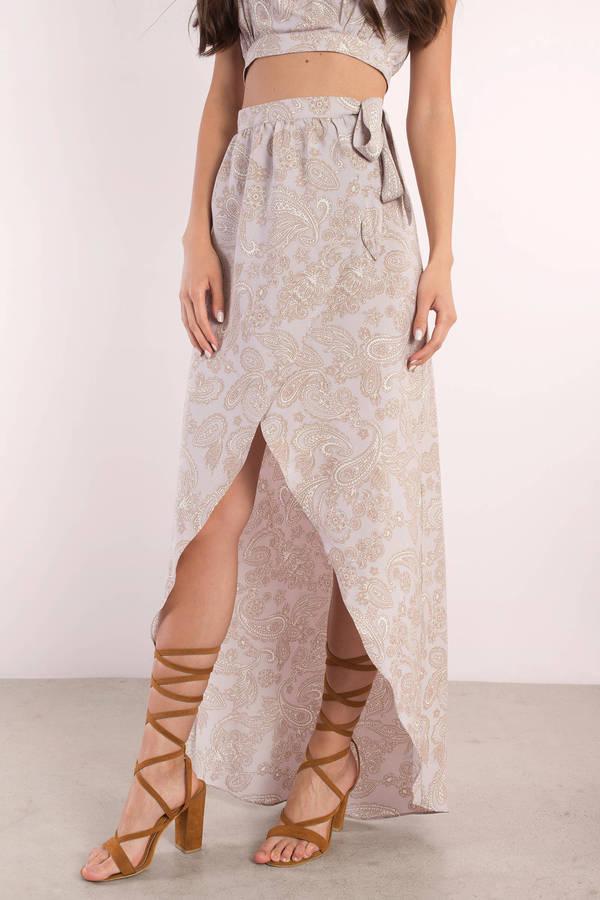 Taupe Mauve Multi - Wrap Skirt - Boho Wrap Skirt
