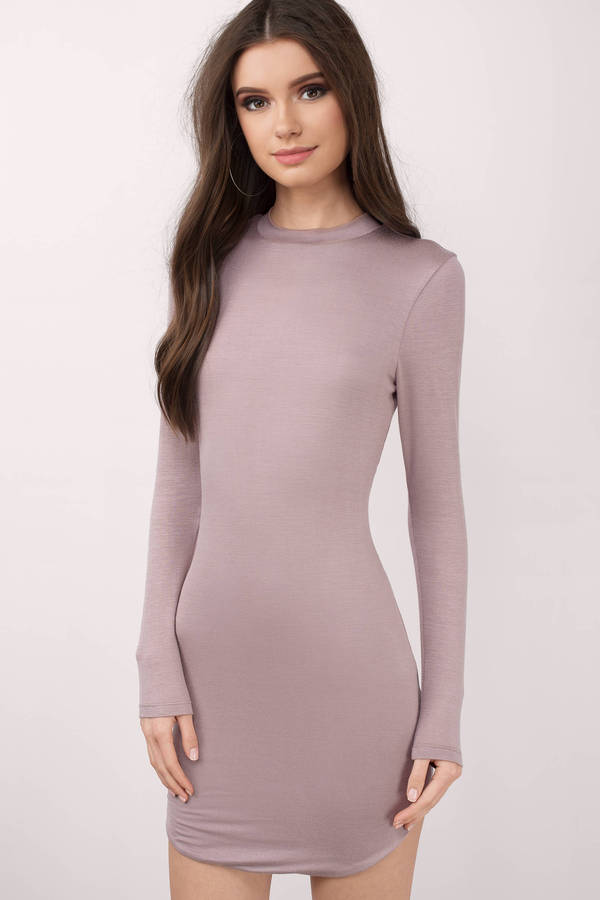 Cute Black Bodycon Dress - Long Sleeve Dress - $54.00