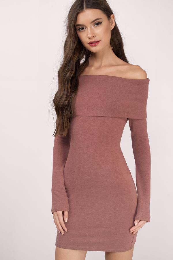 af96f7d66c51 Mauve Bodycon Dress - Off The Shoulder Dress - Pink Knit Dresses ...