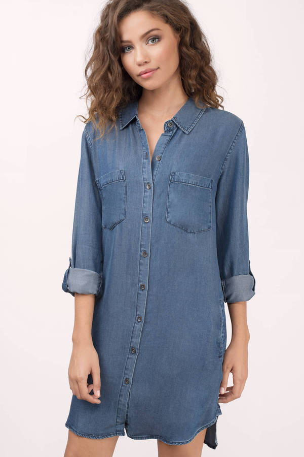 Thread Supply Denim Shirt Dress - Medium Wash - Denim Shift Dress ...