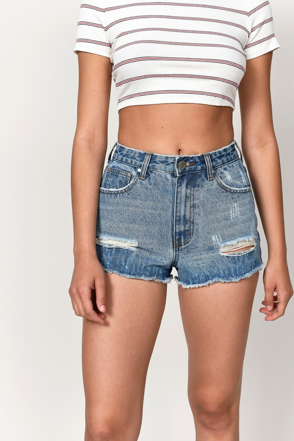 8083910119 Denim Shop, Medium Wash, Broadway Distressed High Waisted Denim Shorts, ...