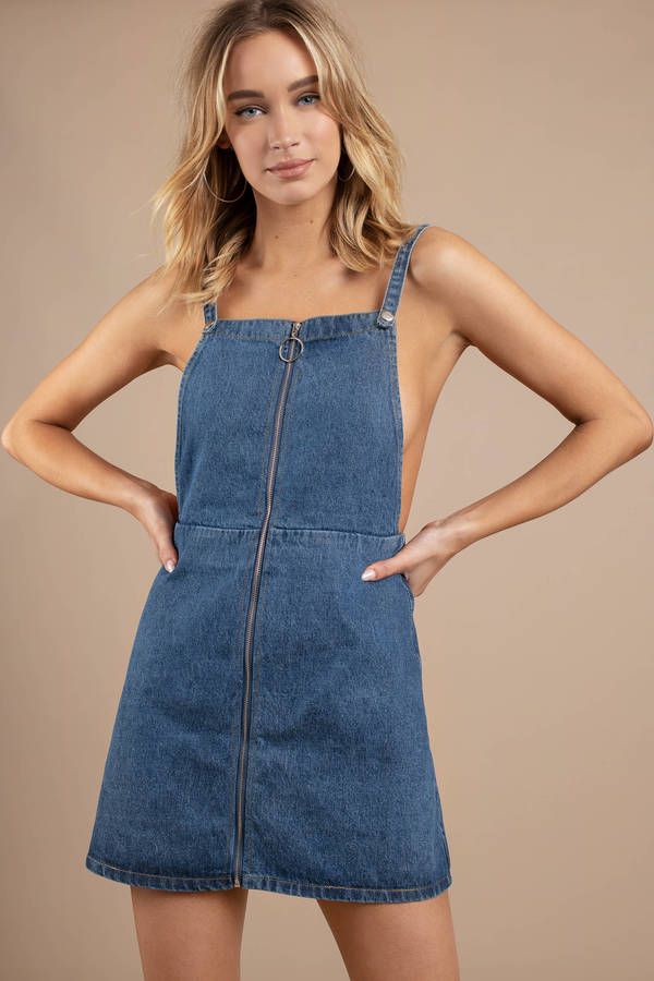 c48b92f183 Denim Dresses, Medium Wash, Happy Tonight Zip Up Denim Shift Dress ...