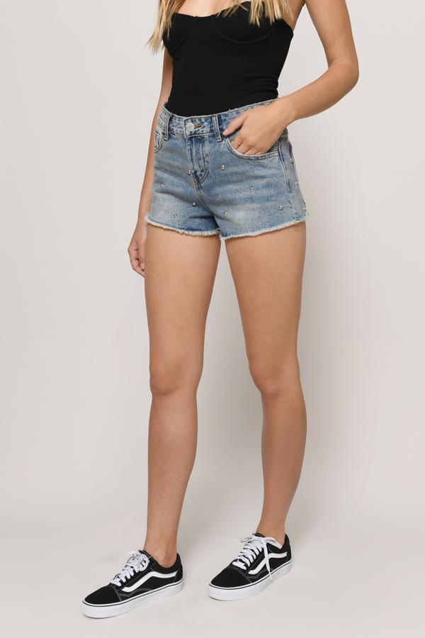 Rigid Medium Wash Mid Rise Denim Studded Shorts by Tobi
