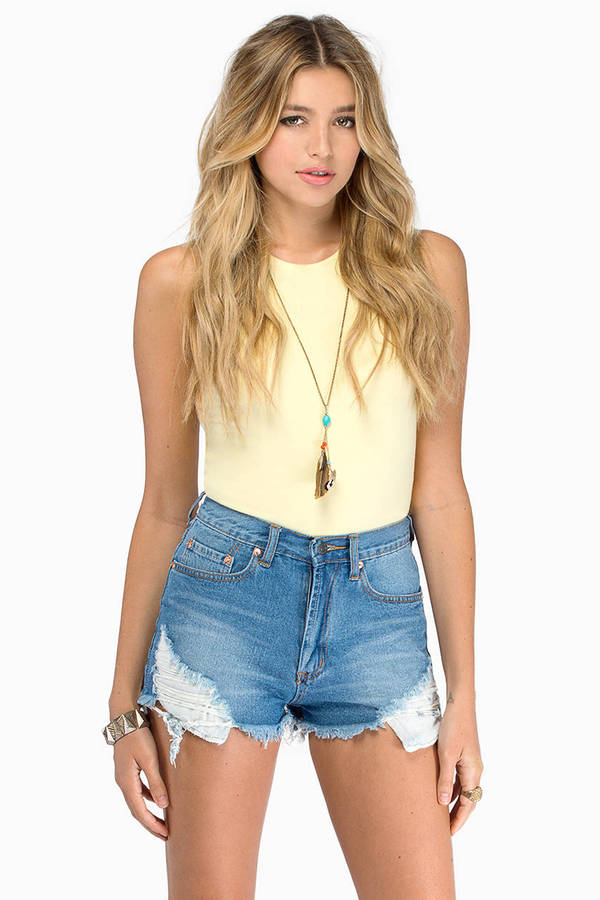 Slashed High Waisted Shorts