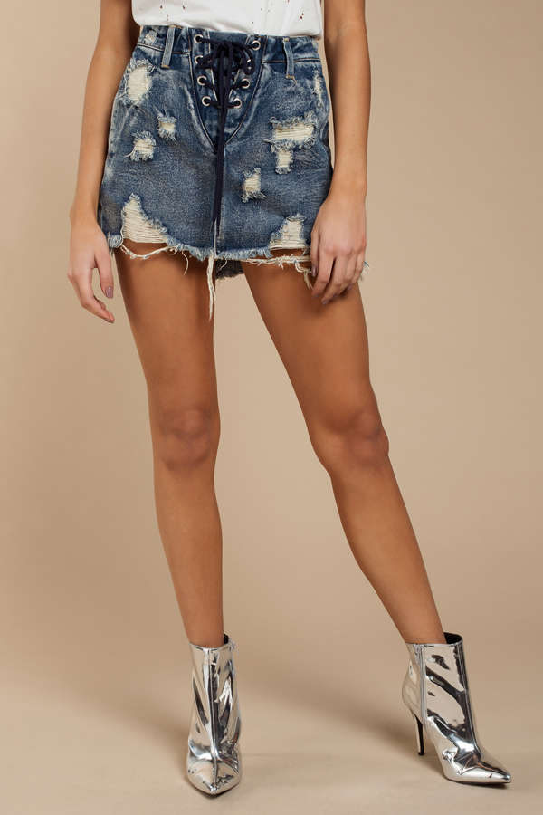 Denim Skirts Medium Wash Summers End Lace Up Skirt