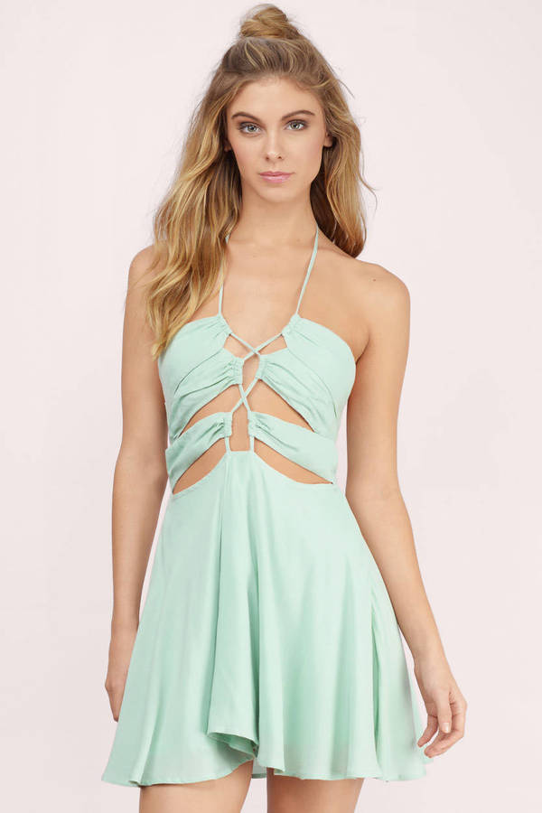 Mint Dress - Criss Cross Dress - Mint Pleated Dress - Skater Dress ...
