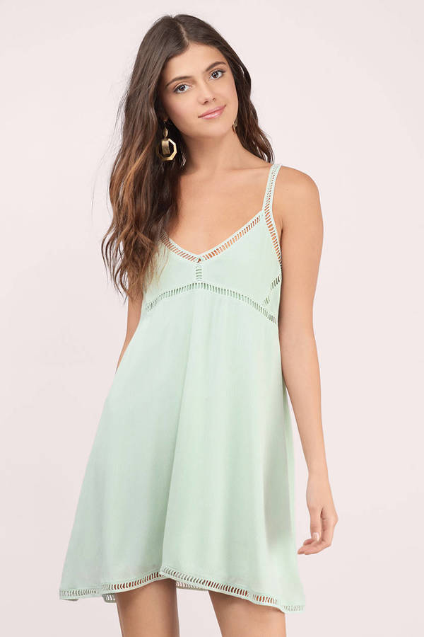 0437313b9bb Mint Dress - Ladder Trim Dress - Long Babydoll Dress - Shift Dress ...