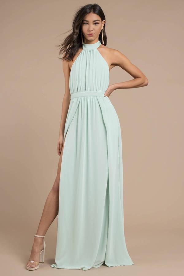 Mint Green Dresses Tara Halter Maxi Dress