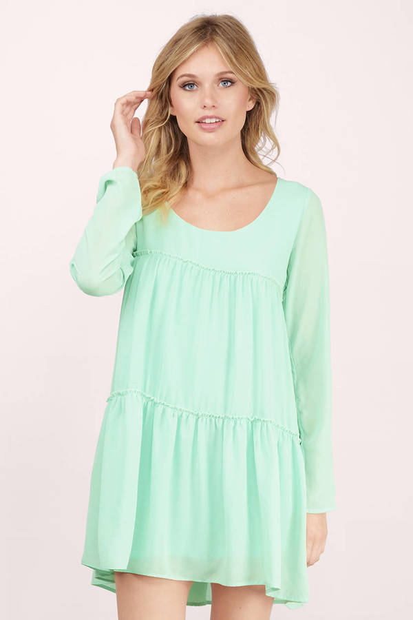 Mint Green Dresses Tier She Goes Again Shift Dress