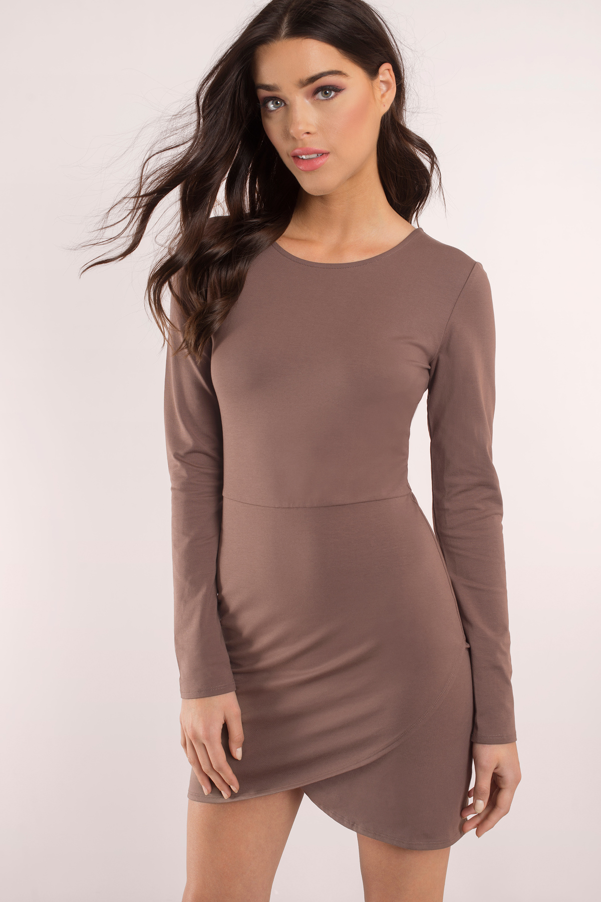 Mocha lace bodycon dress