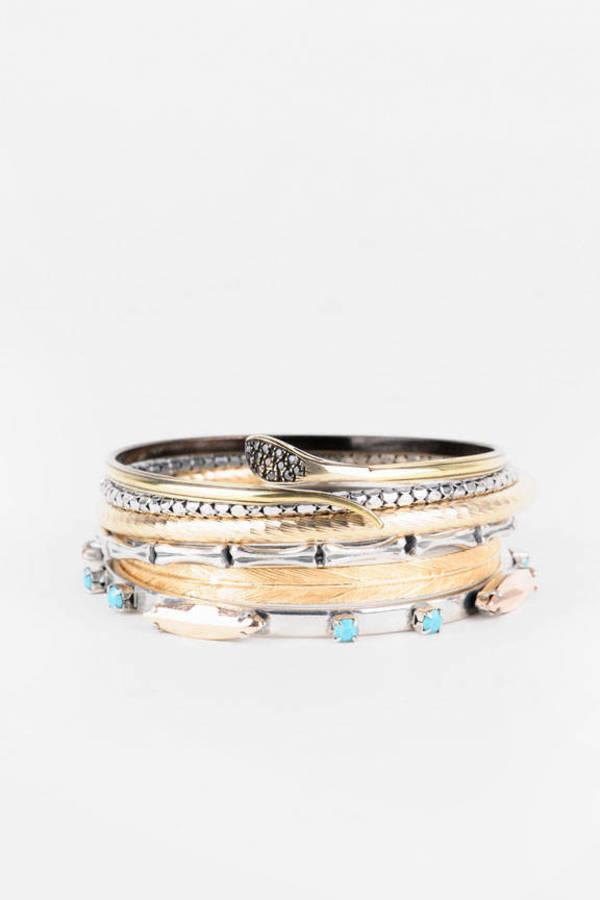 Iosselliani Mixed Metal Multi Bangle Bracelet Set