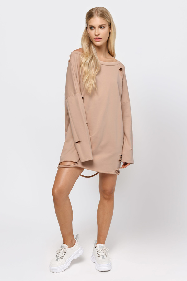 7f9fa7d725f90d Hoodies & Sweatshirts, Natural, Show Off Shoulder Sweater Dress, ...