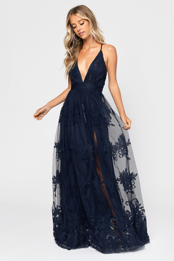 Navy Blue Maxi Dress Formal Gown Navy Blue Lace Tulle Dress