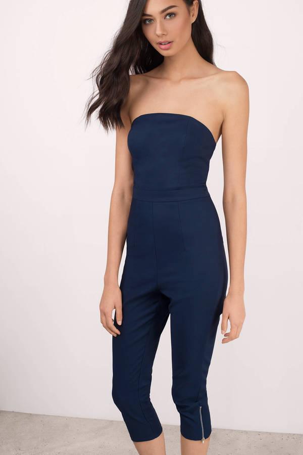 cd49a36e4ea8 Navy Jumpsuit - Slim Jumpsuit - Strapless Jumpsuit - Blue Jumpsuit ...