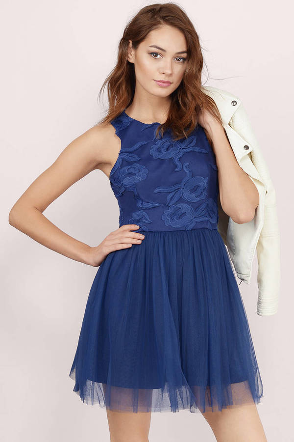 50a0e820152 Cute Navy Blue Skater Dress - Floral Lace Dress - Mesh Dress - € 7 ...