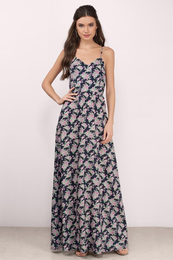 aca8b3095a4 Trendy Navy Blue Floral Print Maxi Dress - Floral Print Dress - C ...