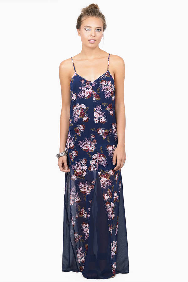 3a764ba4b7c1 Navy Blue Maxi Dress - Floral Tank Dress - Cami Maxi Dress - Lace ...