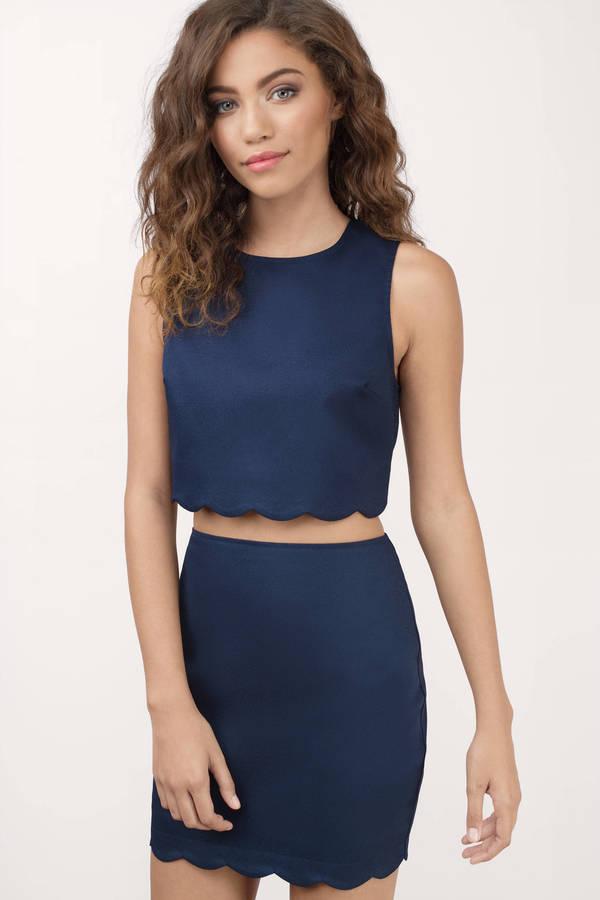 Navy Dress - Scalloped Dress - Two Piece Midriff Dress - Bodycon ... 3147ba4d4