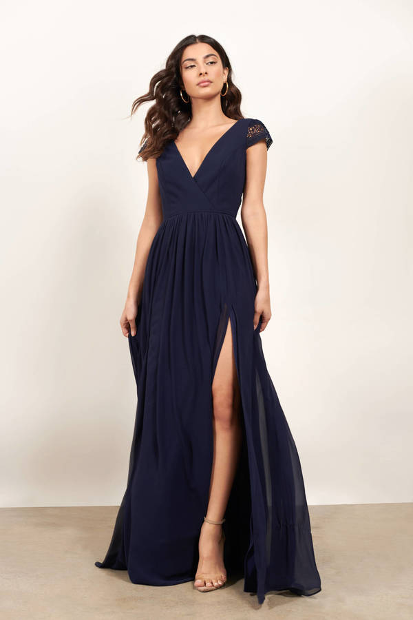 If You Say So Navy Back Tied Slit Maxi Dress by Tobi