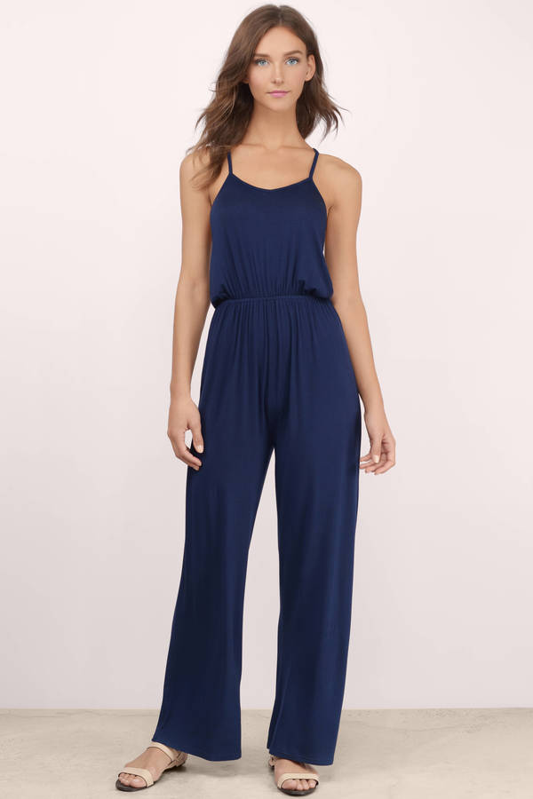 Trendy Navy Jumpsuit - Strappy Jumpsuit - $11.00