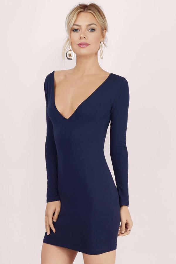 Navy blue long sleeve short dress