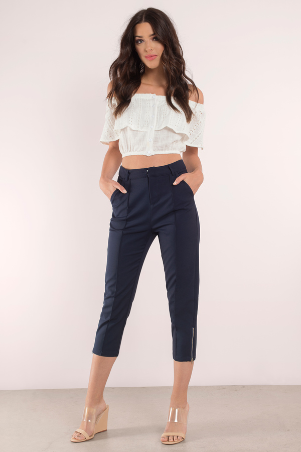 navy blue trousers  high waisted navy blue pants  16