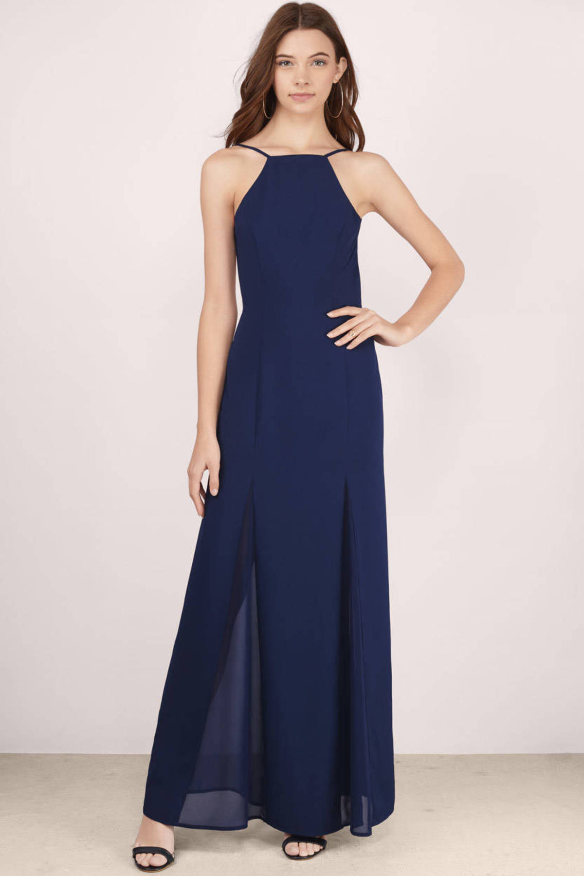 Navy Maxi Dress - Blue Dress - Chiffon Dress - $24.00