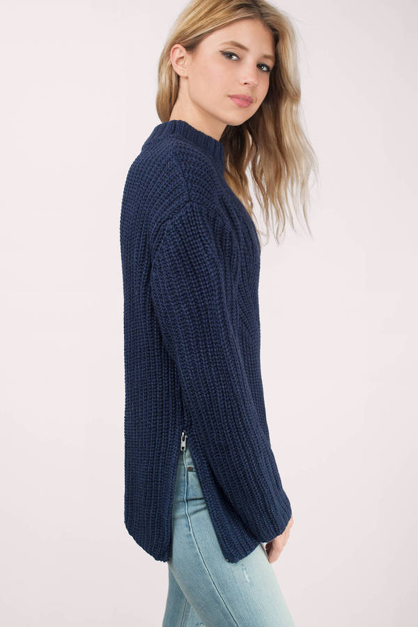 Cute Navy Sweater - Dark Teal Sweater - Navy Sweater - € 17 | Tobi NL