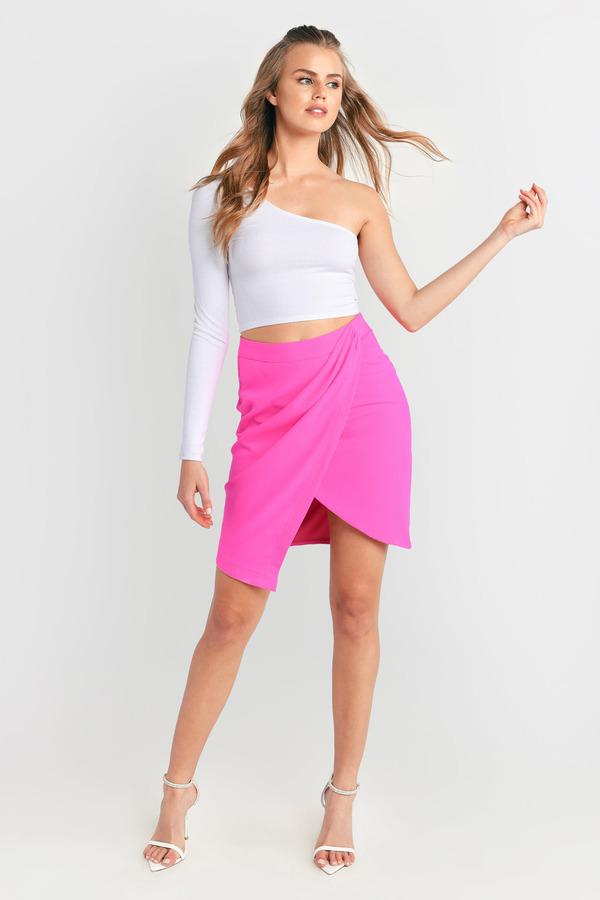 Sexy Neon Pink Skirt - Pink Skirt - Asymmetric Skirt - $50.00