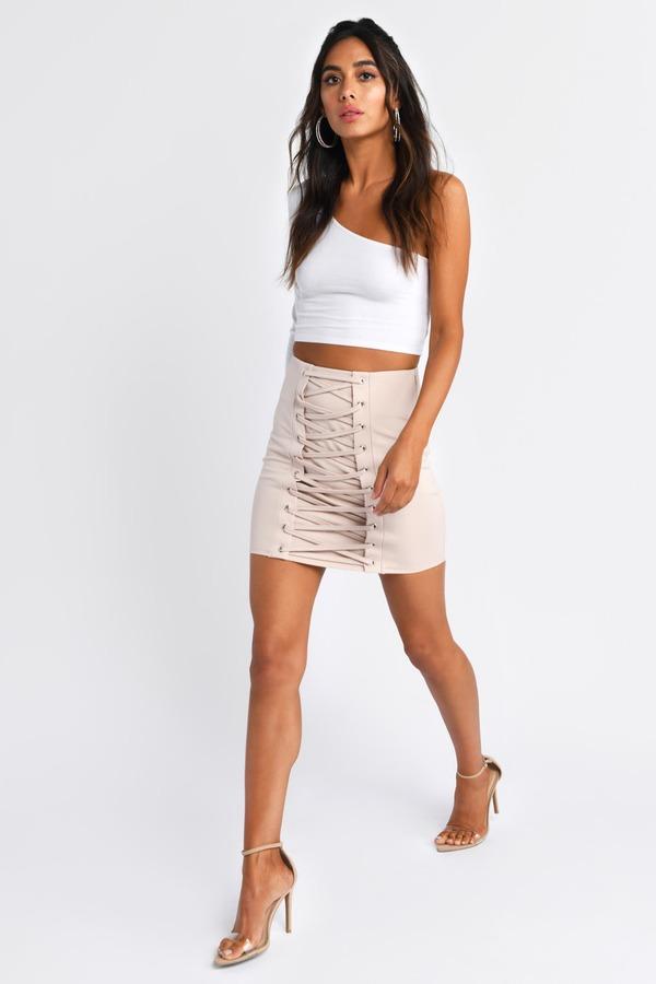 Valentineu0027s Day, Nude, Melrose Lace Up Miniskirt, ...