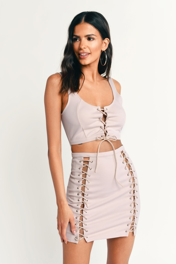 9f98c687c2dbf Trendy Nude Bodycon Dress - Cut Out Dress - Nude Lace Up Dress - $30 ...