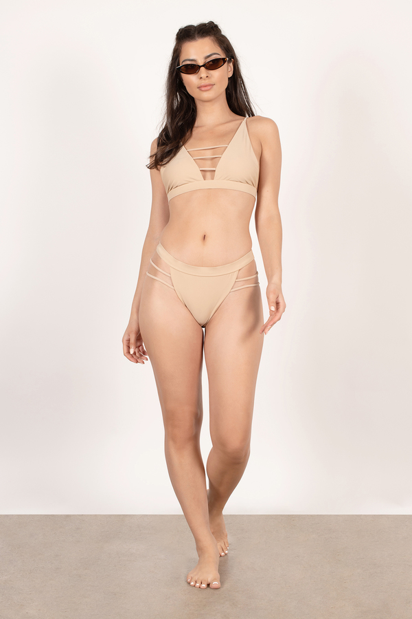 Power Of Love Nude High Cut Bikini Bottom by Tobi