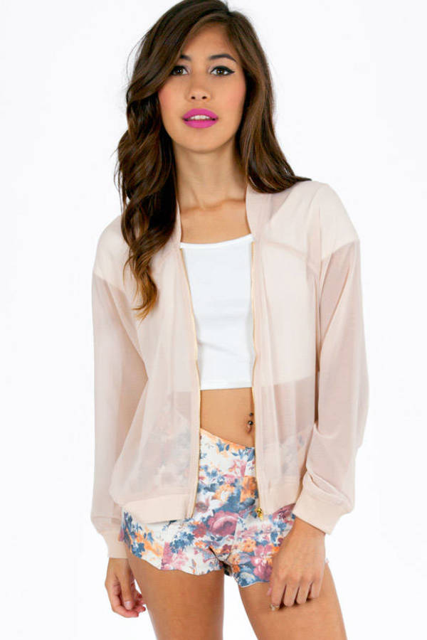 Sheer Me Up Zippered Bomber Jacket