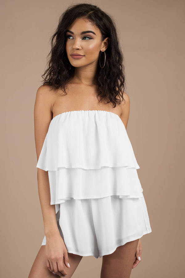Bridal Party Outfits Off White Heidi Strapless Tiered Romper