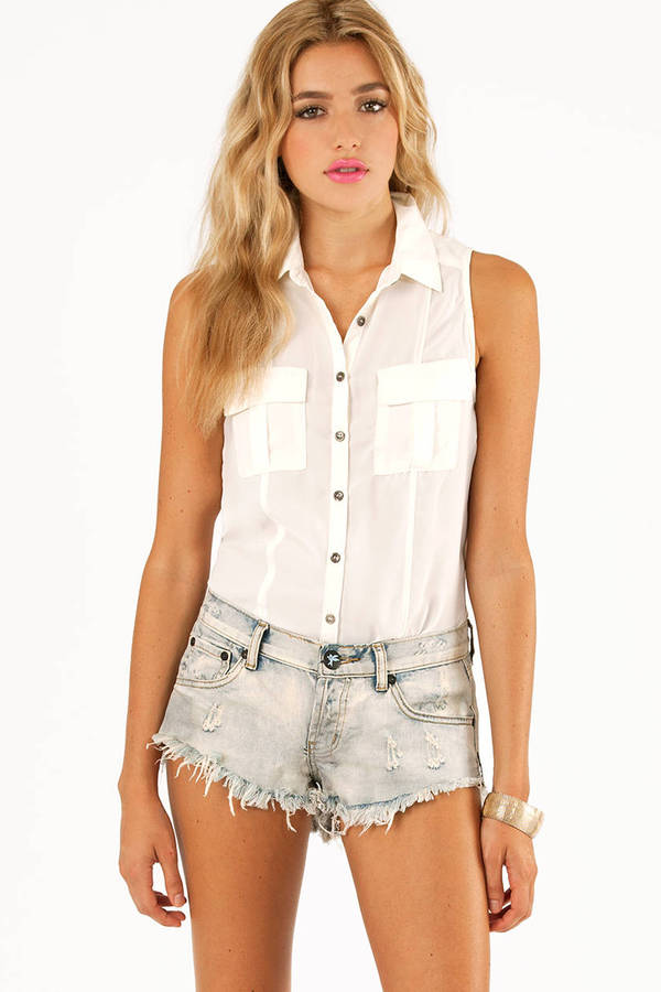 Pockets and Slits Button Up Top