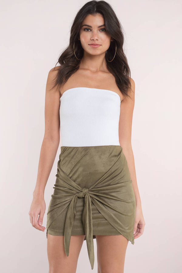 343ce6213557 Green Skirt - Front Tie Skirt - Green Suede Skirt - Casual Skirt - C ...
