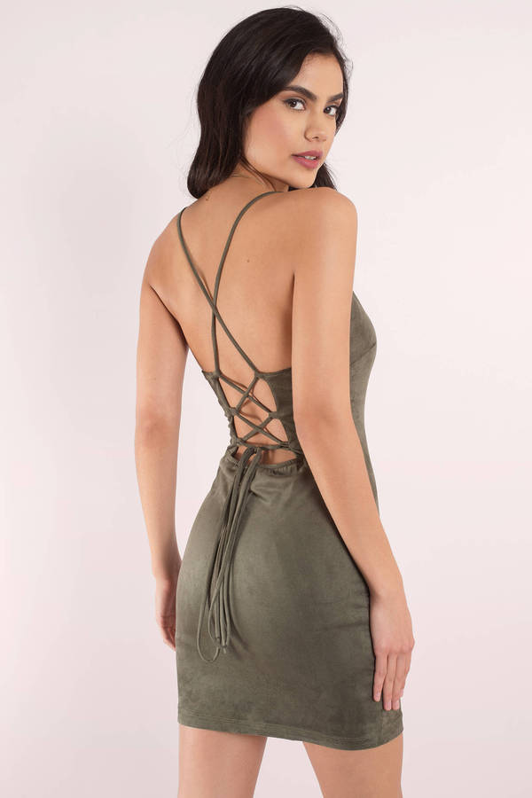 682865125b31 Cute Olive Bodycon Dress - Lace Up Dress - Bodycon Dress -  31