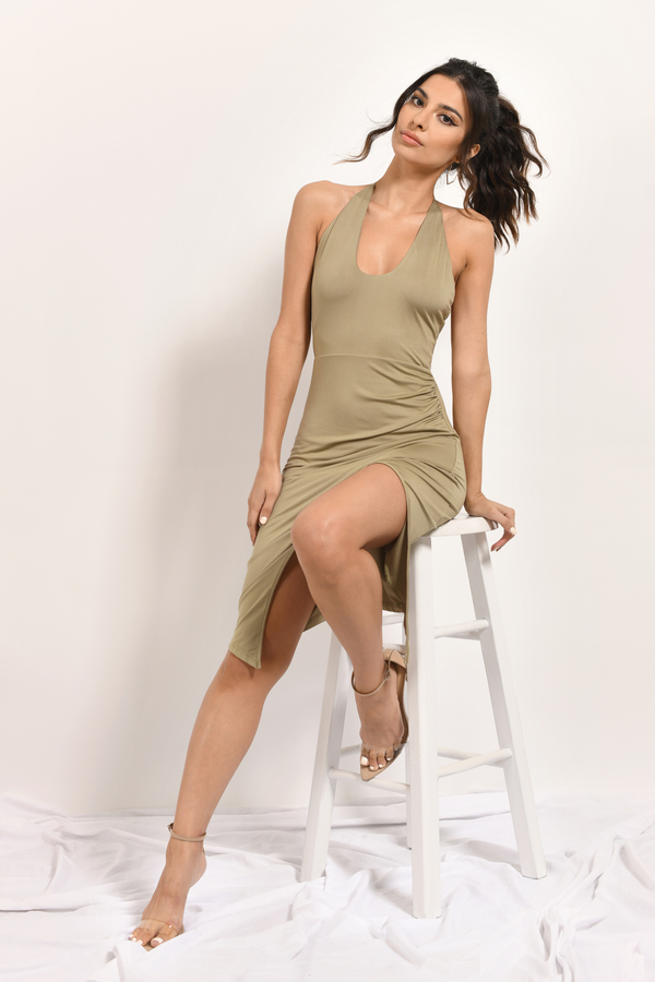 Sexy Olive Bodycon Dress - Side Slit Dress - $58.00
